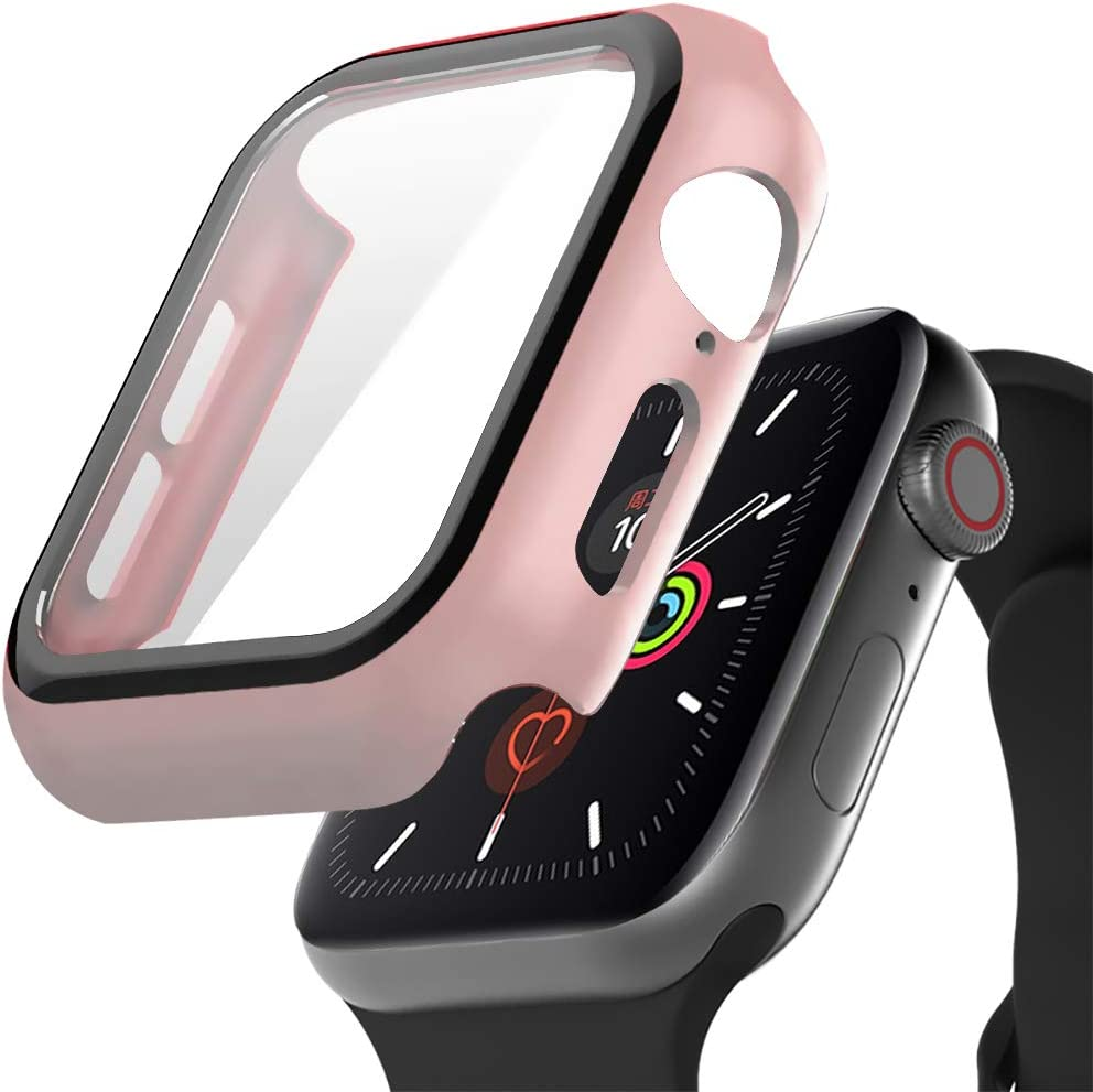 Case for Apple Watch Series 3 Series 2 with Buit in Tempered Glass Screen Protector- All Around Hard PC Protective 42mm Case High Definition Clear Ultra-Thin Cover for iwatch Series 5 4 3 2 1