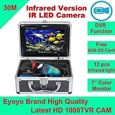 "Eyoyo Original 30M 1000TVL HD CAM Professional Fish Finder Underwater Fishing Video Recorder DVR 7"" Color Monitor Infrared IR LED lights + 4GB SD card"