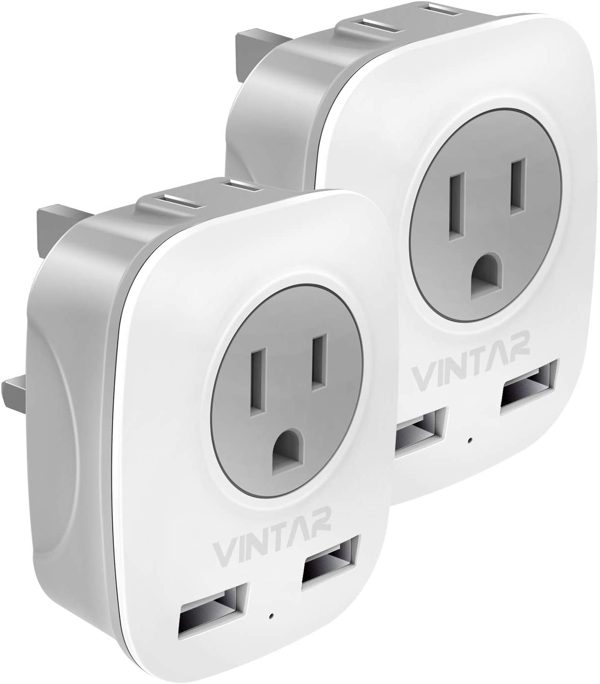 [2-Pack] UK Ireland Travel Plug Adapter, VINTAR International Power Adaptor with 2 USB, 4 in 1 Outlet Adaptor for USA to British England Scotland Irish London Hong Kong (Type G)