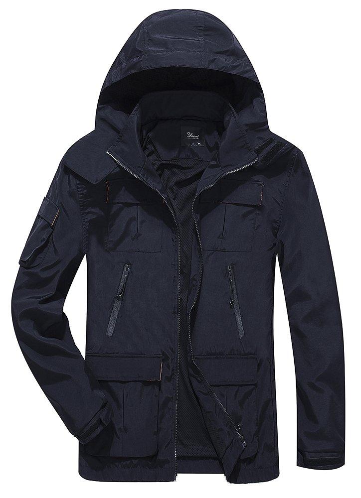 Yozai Men's Outdoor Sports Hooded Windproof Jacket Hooded Rain Jacket Plus Size (X-Large, Black)