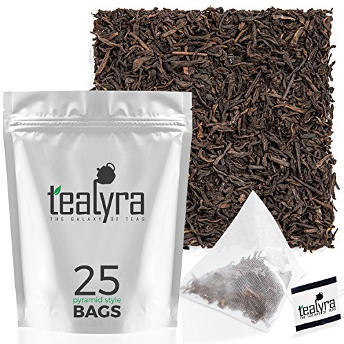 - Ripe Pu'erh Tea Bags - 5 Years Aged Pu-erh Leaf Tea - 100% Natural - High Caffeine - Weight Loss - 25 Pyramids Sachets (2-ounce) by Tealyra