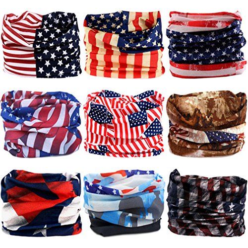 VANCROWN Headwear Wide Headbands Scarf Head Wrap Mask Neck Warmer (9PC.The Stars and Stripes Series)