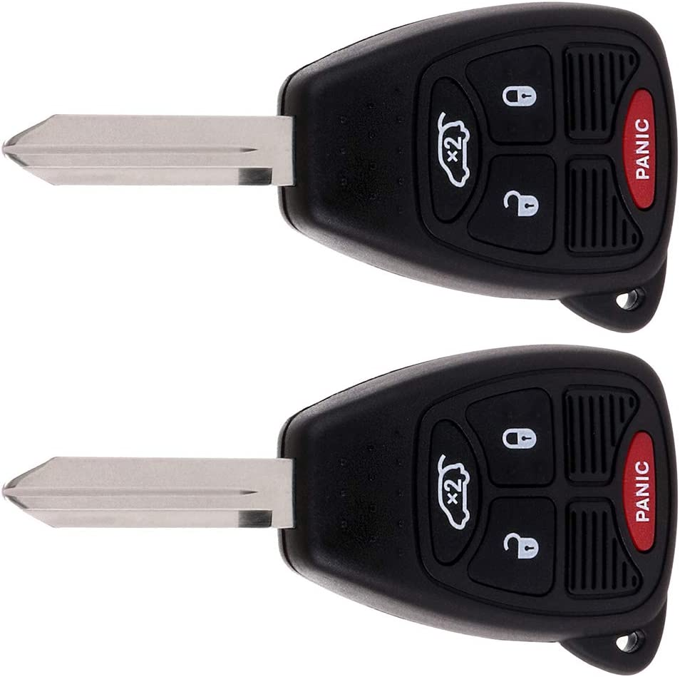 ANPART 2 X Remote Key Fob Uncut Ignition Key Compatible for 05 06 07 08 09 10 11 12 13 14 Ford Commander Grand Cherokee Liberty for Chrysler 300 Aspen Sebring Dodge Charger Durango FCC OHT692713AA