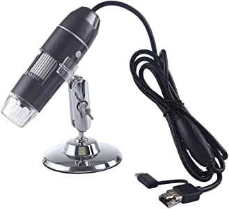 1000X Magnifier HD 0.3MP Image Sensor 3 in 1 USB Digital Microscope with 8 LED & Professional Stand Durable (Color : Black)