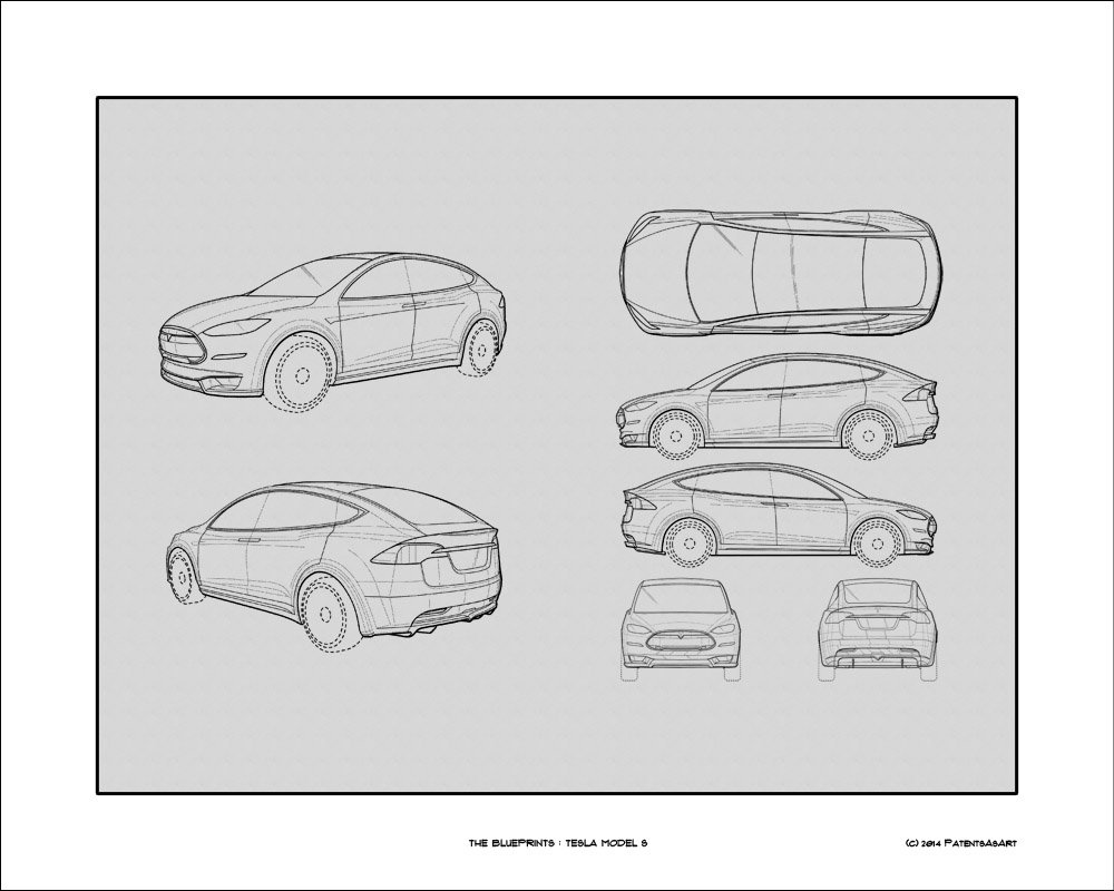 Amazon tesla model s blueprint print car wall art gift amazon tesla model s blueprint print car wall art gift choose your model 16x20 posters prints malvernweather Choice Image