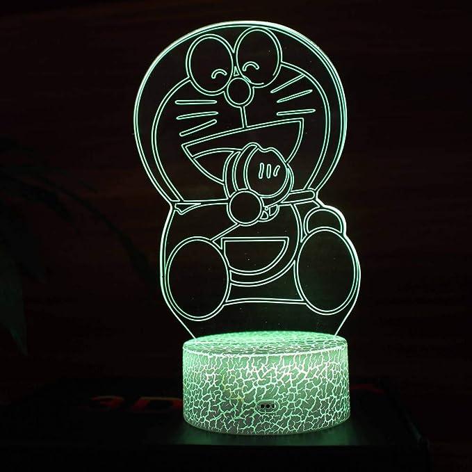 MRFX Color 3D luz de la Noche, Doraemon Gato Robot, estéreo USB ...