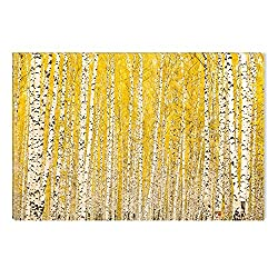 Startonight Canvas Wall Art White Yellow Tree Forest Nature, Dual View Surprise Artwork Modern Framed Ready to Hang Wall Art 100% Original Art Painting 23.62 X 35.43 inch