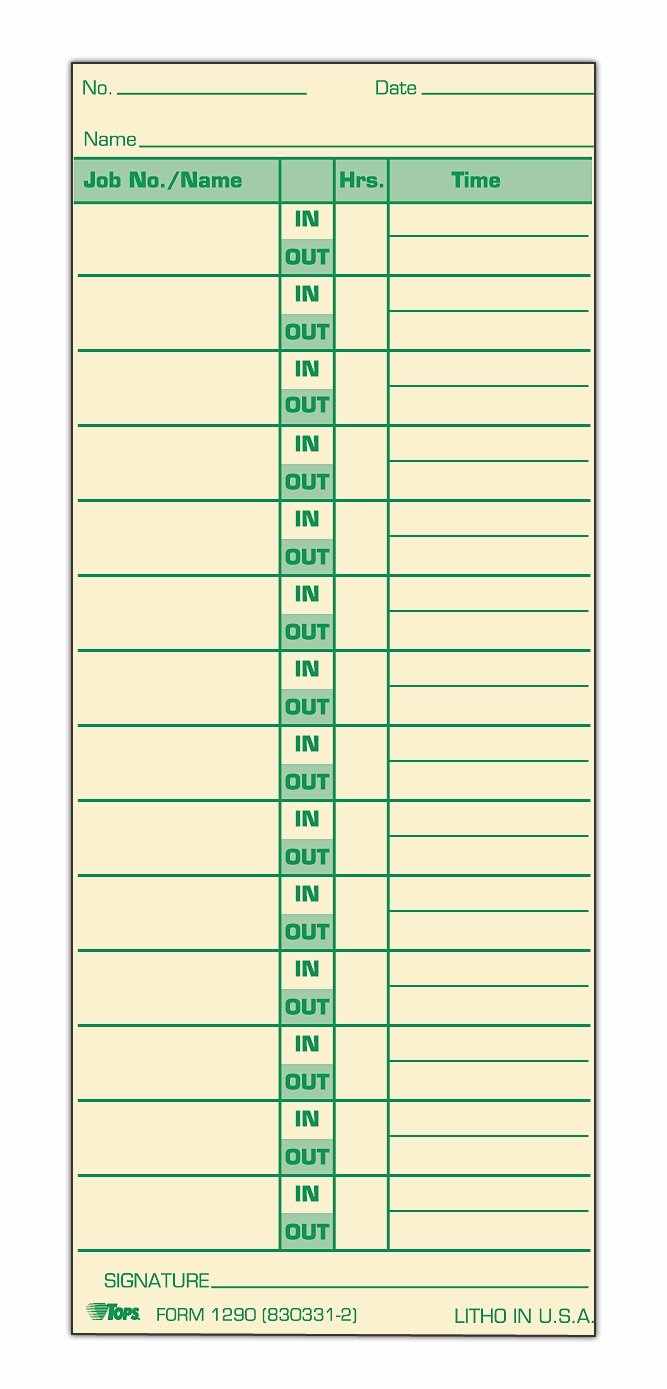 TOPS Job Cards, 2-Sided, 3-1/2'' x 8-1/2'', Manila, Green Print Front/Back, 500-Count (1290) by TOPS