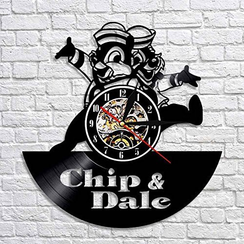 Chip Dale Christmas - Chip and Dale Wall Clock, New Year Gift, Vinyl Wall Clock, Xmas Gift, Chip and Dale Gift, Wall Clock Vintage, Chip and Dale Clock