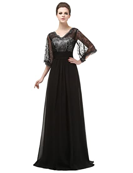 Clearbridal Womens Black Lace and Chiffon Long Prom Dress Empire Waist V-Neck Evening Gown