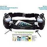 Running Hydration Belt with Water Bottles (2X BPA Free 10oz), Fuel Belt Fits iPhone 6s Plus for Running, Race, Marathon, Hiking, Adjustable Waist Hydration Pack, Men & Women Runners Belt