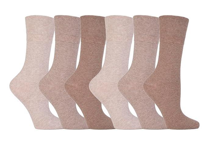 Gentle Grip - 6 pares calcetines diabeticos mujer sin goma elastico estampados 37-42 eur