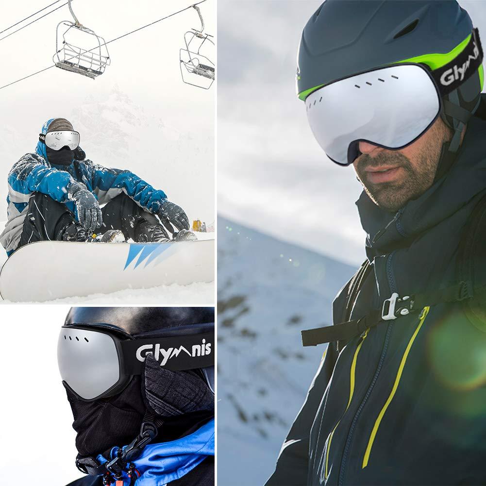 Glymnis Masque de Ski Lunettes de Ski Hommes Femmes Anti-bu/ée OTG Anti-UV400 Mousse Respirante /à 3 Couches pour Activit/é Ext/érieur