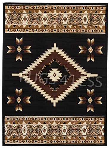 Rugs 4 Less Collection Southwest Native American Indian Area Rug Navajo Design R4L SW2 in Black (5'x7')