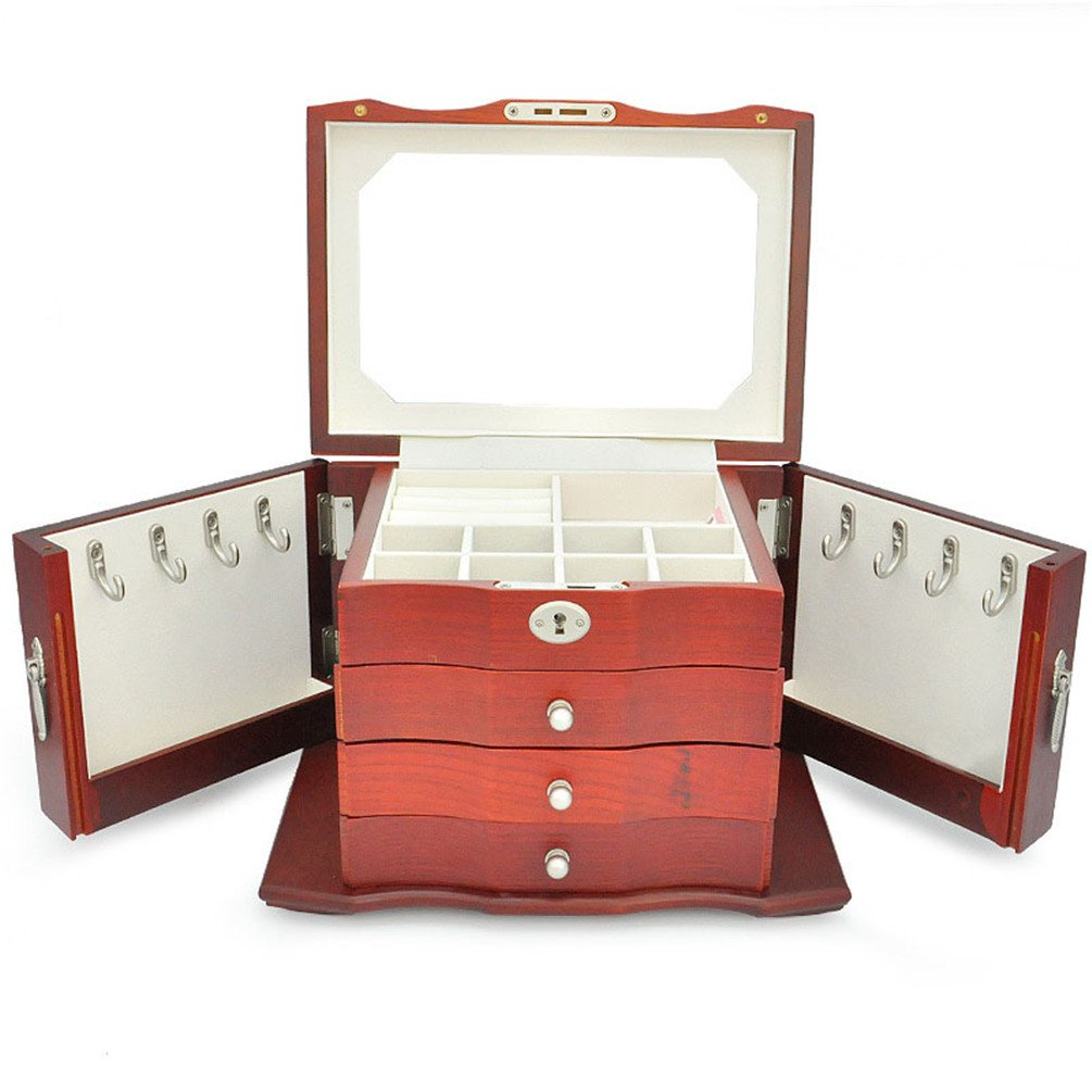 Gooday Wooden Jewelry Organizer Box Foldable Organizadores House Storage (Red)