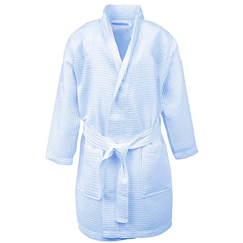 Opromo Kids Waffle Kimono Spa Party Robe Hotel Cotton Bathrobe with Pockets-Blue-XL
