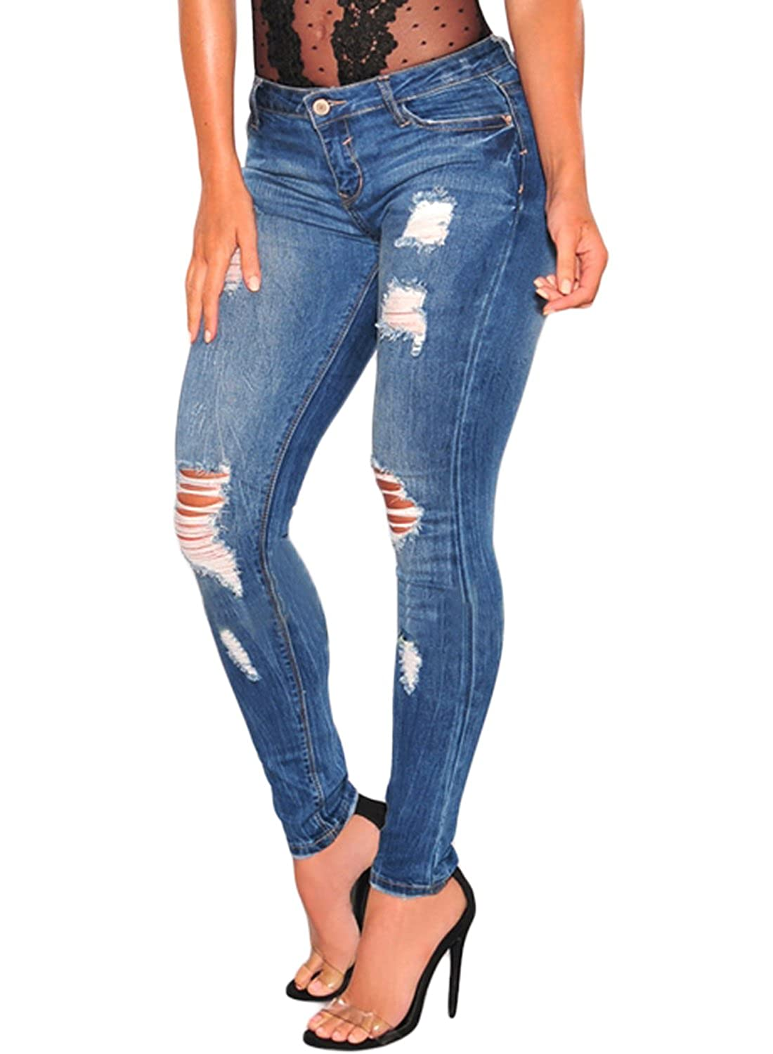 Elapsy Womens Denim Ripped Skinny Jeans High Waist Ladies Fitted Jeggings Trousers WQ78694