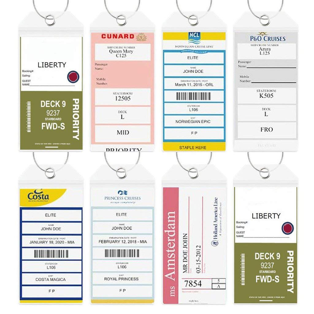 Cruise Tags Luggage Etag Holders Zip Seal & Steel Loops Thick PVC 4 Pack - Clear by Highwind (Image #2)