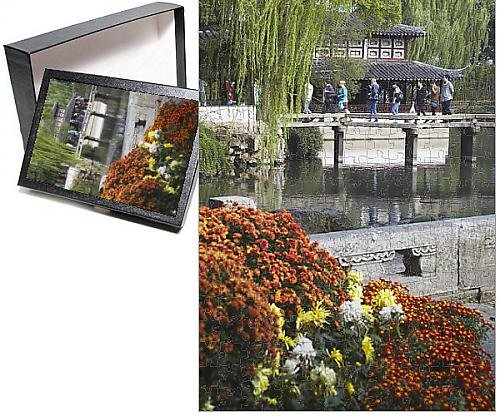 Photo Jigsaw Puzzle of People crossing footbridge in Humble Administrator s Garden, (Administrators Garden)