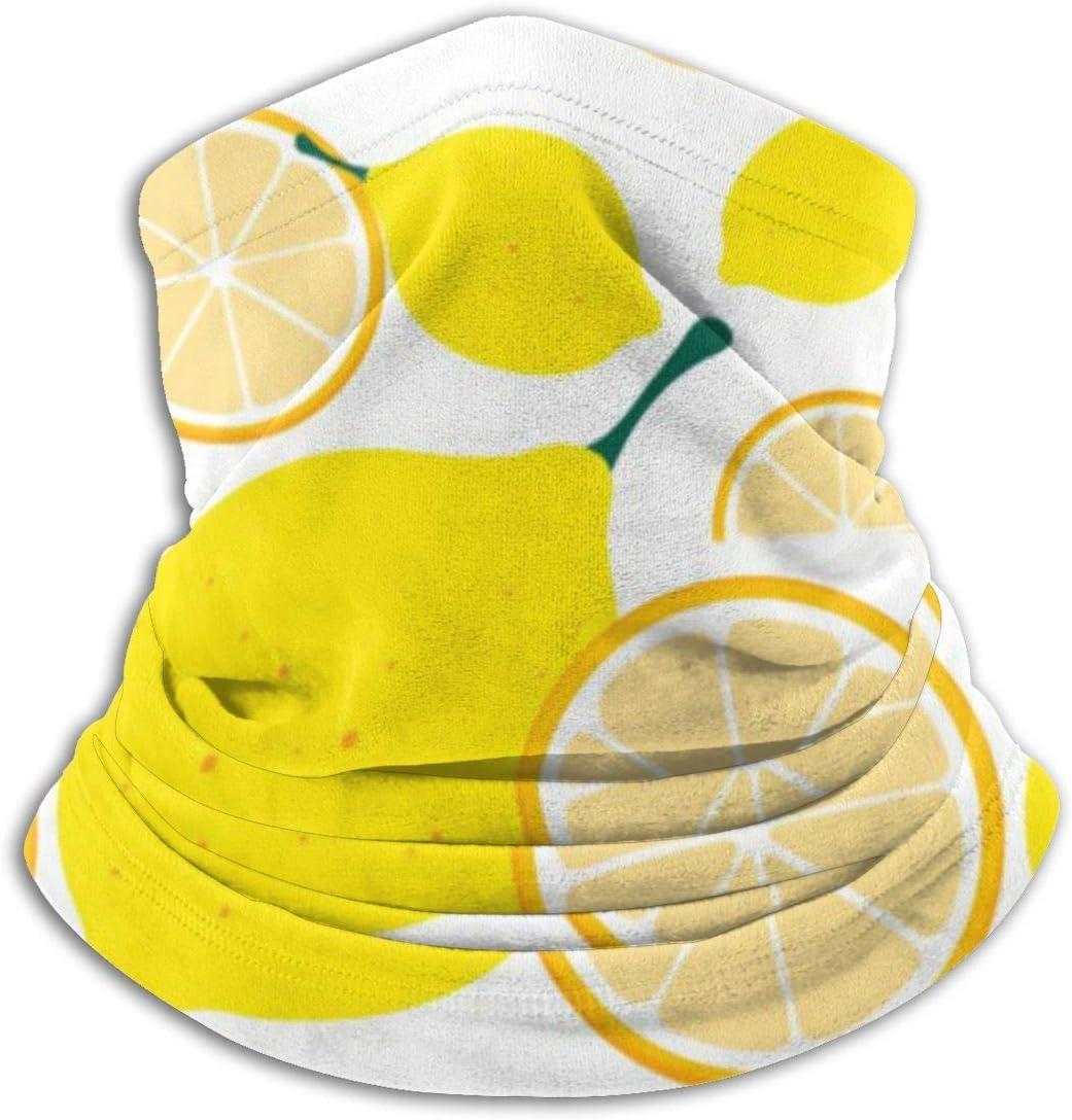 Bklzzjc Dibujos Animados de limón Amarillo Fresco con rodajas de Fruta Calentador de Cuello Polaina Mascarilla Clima frío Invierno Polaina de Cuello Bandana Pasamontañas