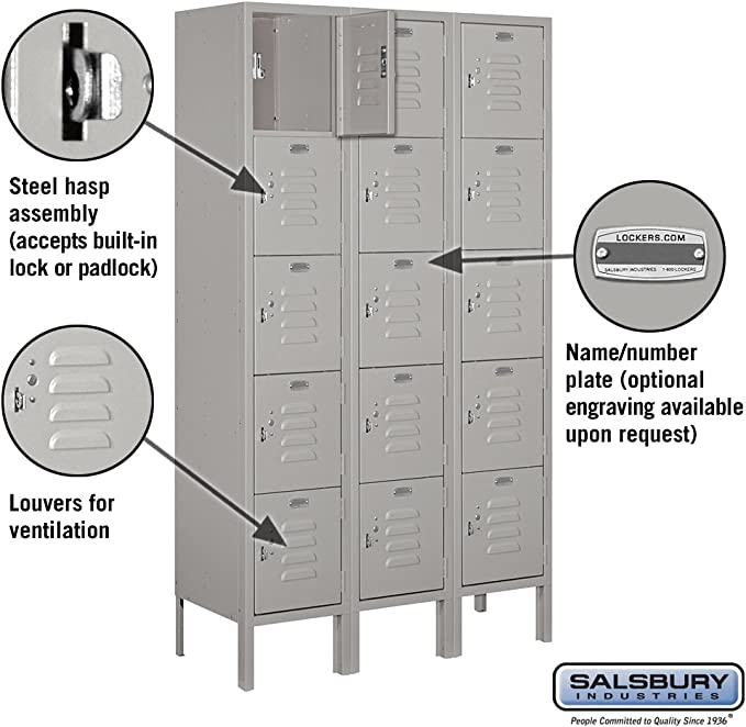 Amazon Com Salsbury Industries 65352gy U Five Tier Box Style 36 Inch Wide 5 Feet High 12 Inch Deep Unassembled Standard Metal Locker Gray Home Improvement