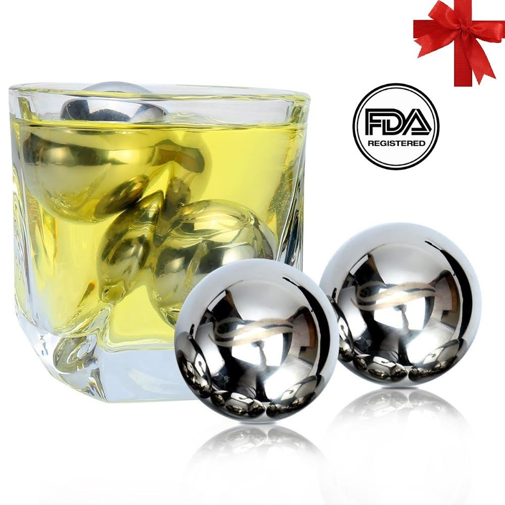 Unique Solution Reusable Stainless Steel Ice Balls -Set of 4 Big Whiskey Balls with Gift - Whisky, Wine, Beer, Vodka, Champagne, Spirits Chiller & Cooler Cubes and Stones