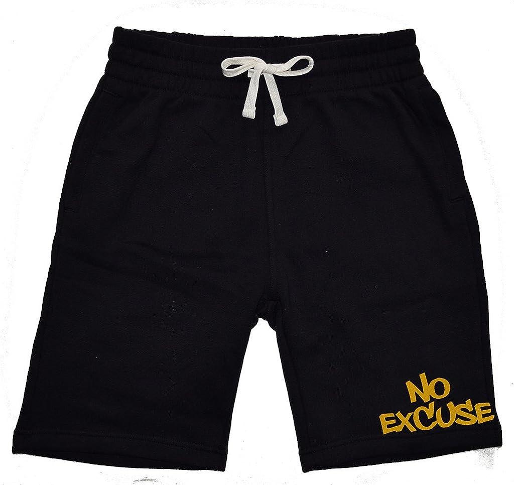 Mens Gold No Excuse Chest V121 Black Fleece Jogger Sweatpant Gym Shorts