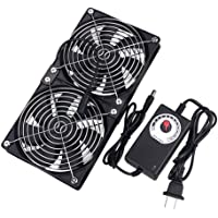GDSTIME Big Airflow Dual 120mm Fans DC 12V Powered Fan with AC 110V - 240V Speed Control, Cabinet Chassis Cooling Fan, Server Workstation Cooling Fan