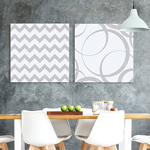 2 Panel Square Abstract Chevron and Cirle Pattern x 2 Panels