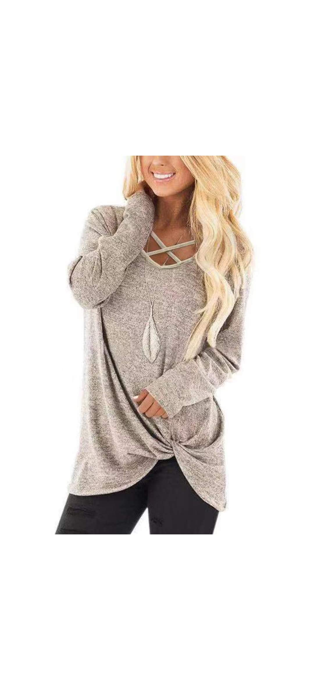 Womens V Neck Long Sleeves Casual Soft Sweaters Pullover