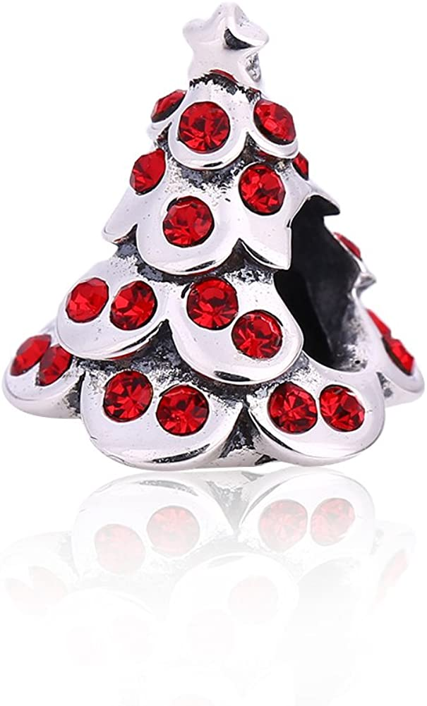 Snowman Crystal Charms Fits European Bracelet Christmas Reindeer Charms 925 Sterling Silver Tree Stocking