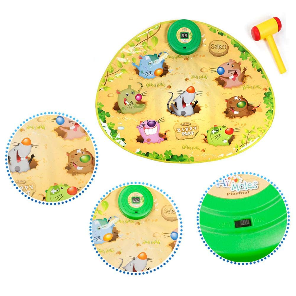 Assiduousic Children's Music Toy Mat, Battery Powered Durable Interesting No Programming Whac A Mole Game Dance Mat Puzzle Music Pad with Hammer, for Baby Toddler by Assiduousic (Image #6)