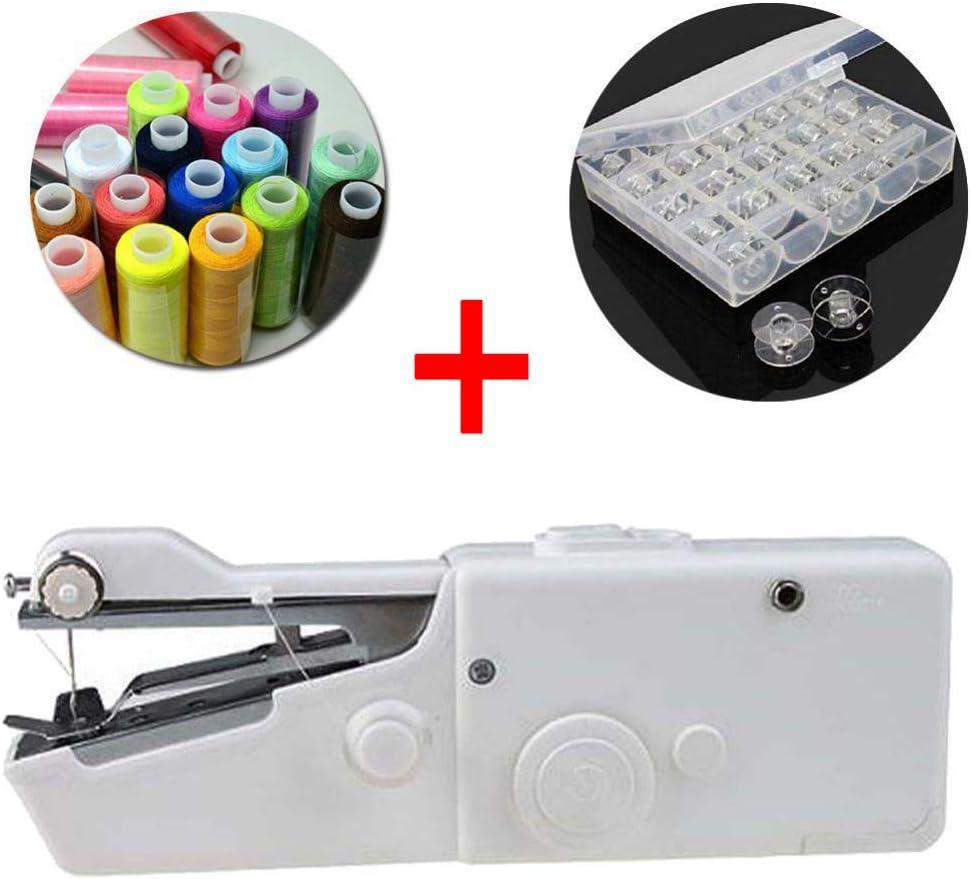 YAOHM Máquina de Coser eléctrica de Mano Mini portátil Handy Stitch Costura casera Mesa rápida Manual de Punto único Herramienta de Bricolaje Hecha a Mano,C