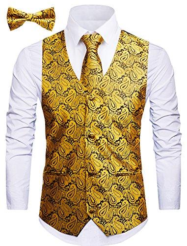 Cyparissus 3pc Paisley Vest for Men with Neck Tie and Bow Tie Set for Suit Tuxedo (L, Gold)