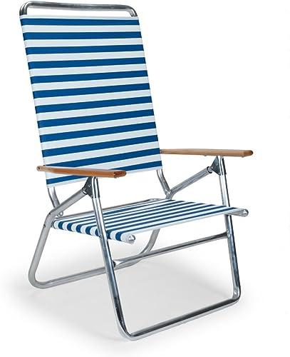 Telescope Casual Light and Easy High Boy Folding Beach Arm Chair, Blue White Stripe 71113601
