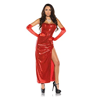 7994c42e128 Jessica Rabbit Womens Costume Red Sexy Sequin Dress Who Framed Roger Adult