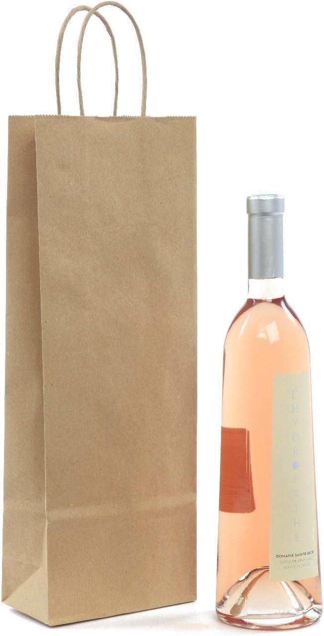 Weintraget/üten Flaschenbeutel aus Kraftpapier Papierkordel Natur f/ür 1 Flasche VE 200 St/ück