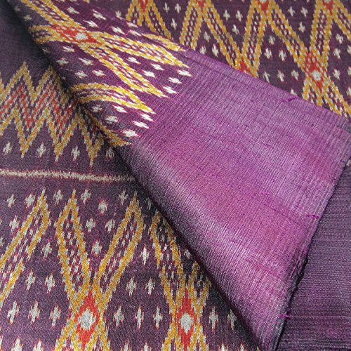 (100% Thai Silk Fabric Mudmee Handwoven with 6-ply Authentic Silk (Deep Purple Base))