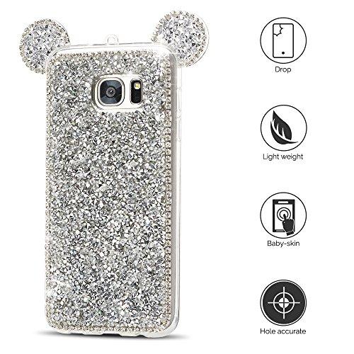 Funda para Samsung S7 edge Carcasa Galaxy S7 edge Silicona Anfire Suave Transparente Gel 3D Brillante Diamante Diseño Funda Cubierta para galaxy S7 edge (5.5 Pulgadas) Bling Glitter Cristal Protección Plateado