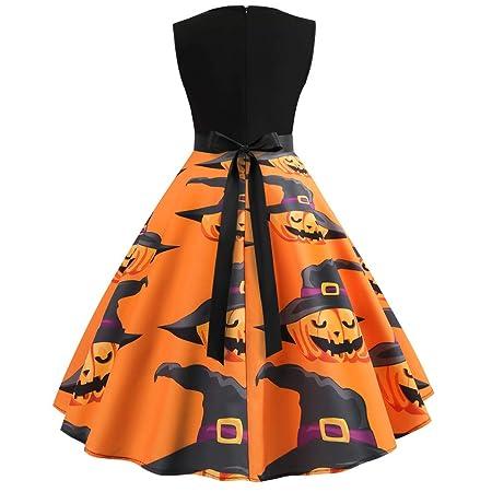 Vestido de Halloween para mujer con cuello en O, manga de calabaza ...