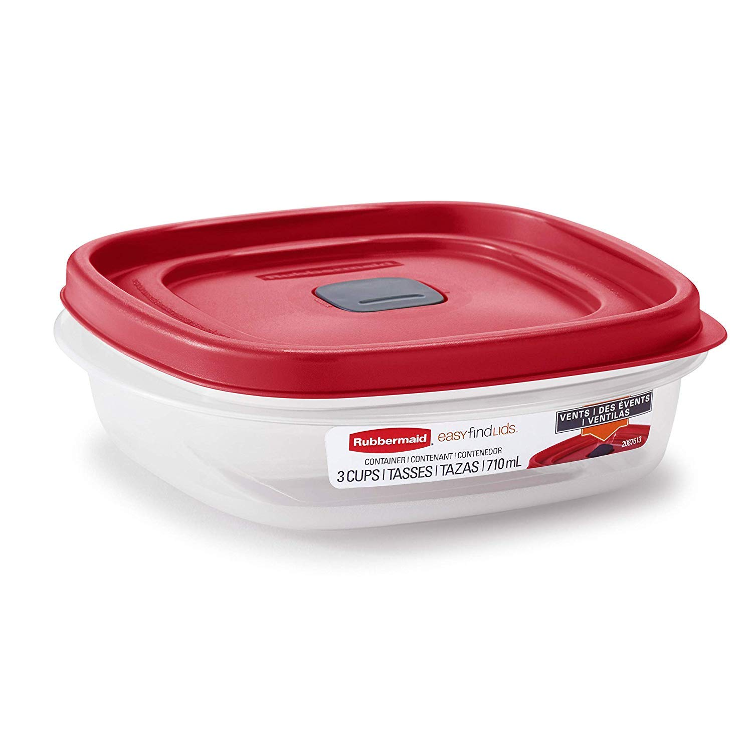 Rubbermaid 2030328 Easy Find Vented Lid Food Storage Container, 3-Cup (4)