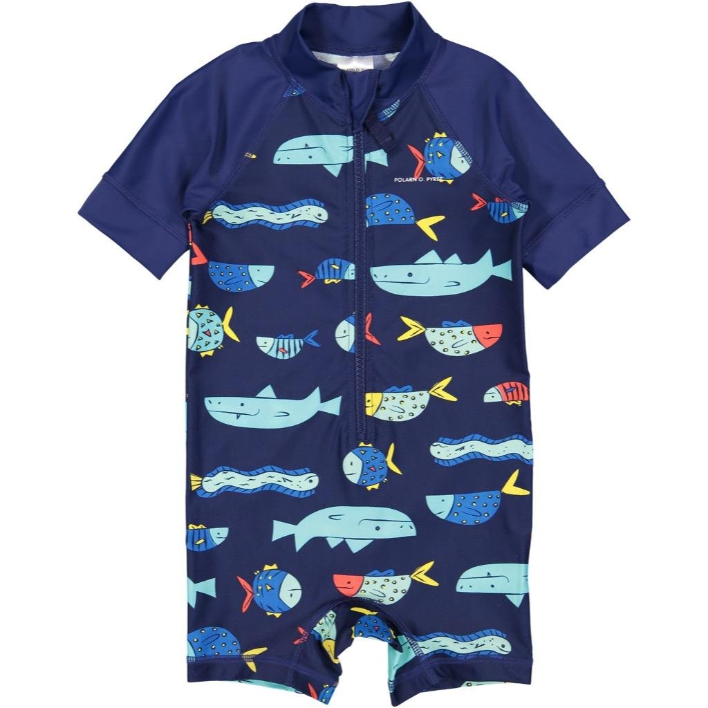 Polarn O. Pyret Fish Soup UV ECO Rash Guard SURF Suit (Baby) - 1-2 Years/Dark Sapphire by Polarn O. Pyret