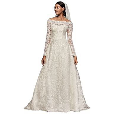 b368d4408a2 Sample  As-is Off-The-Shoulder Lace A-Line Wedding Dress Style AI14010567  at Amazon Women s Clothing store