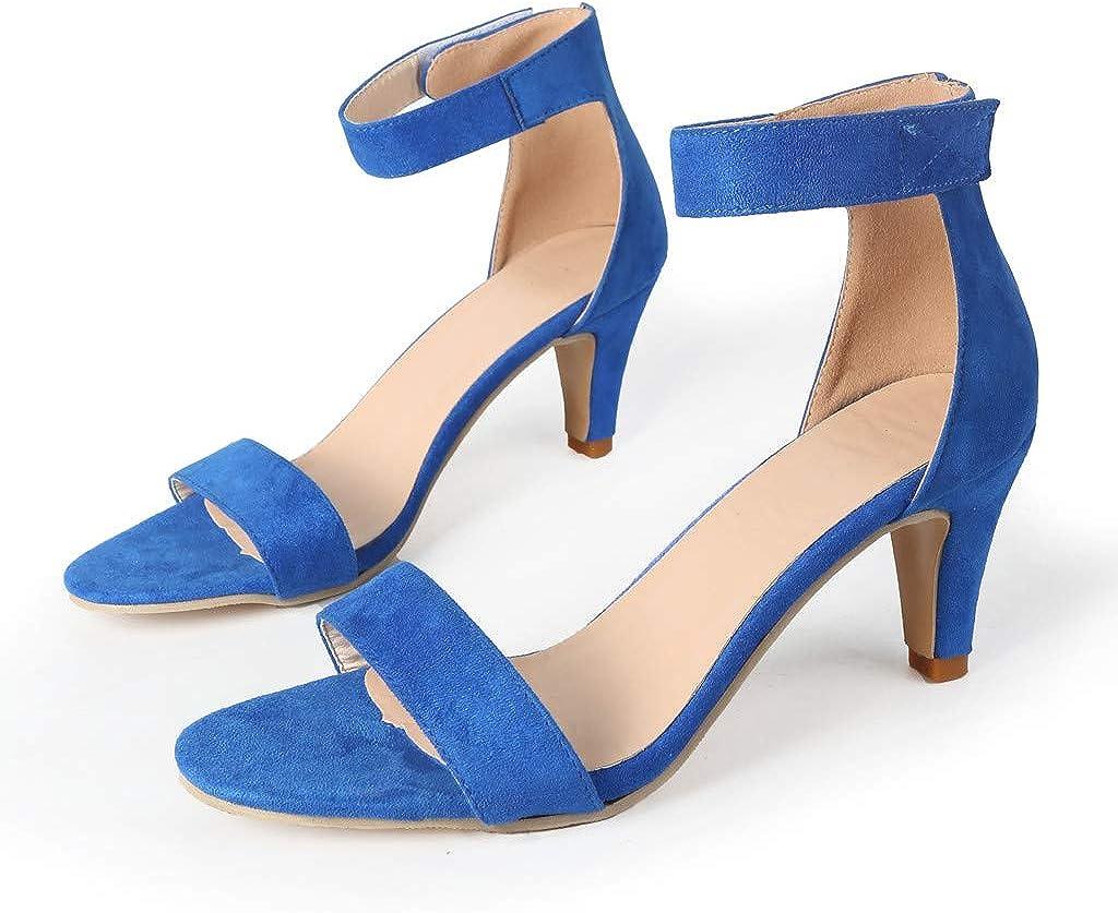 Sandales Femmes Talons Hauts Été Sangle Cheville Dames Pompes Chaussures Bleu