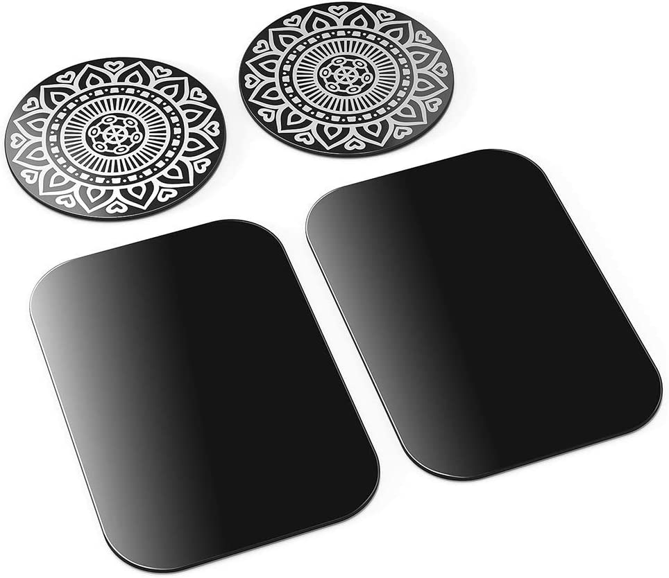 TaoTronics Metal Plate 4 Pack Wide Compatibility Replacement Plates for Magnet Phone Holder Strong Stickiness