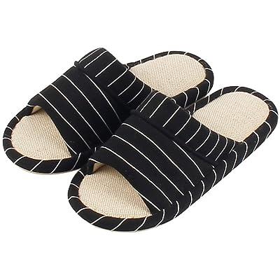 GaraTia Men Open Toe House Slippers Cotton Linen Washable Memory Foam Indoor Sandals 9.5 M US Black   Slippers
