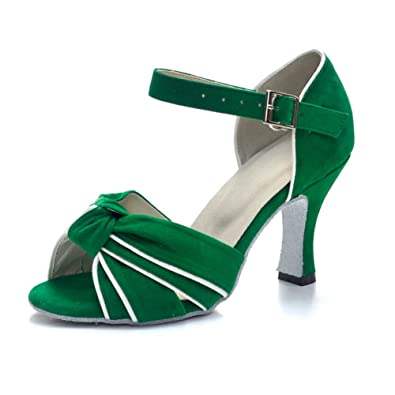 8eae2fca26a Misu Women s Peep Toe Sandals Latin Salsa Tango Practice Ballroom Dance  Shoes with 3.1 quot  Heel