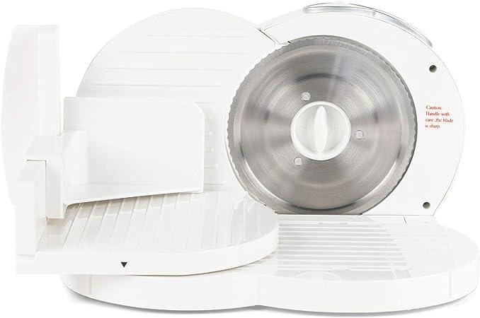 Opinión sobre Progress EK3683P - Cortadora eléctrica compacta de alimentos con motor de 150 W, hoja de acero inoxidable y grosor de corte ajustable, color blanco, 35,5 x 27,5 x 22 cm