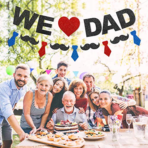 Glitter We Love Dad Banner Red Navy Blue Black 2019 Father's Day Party Supplies Ideas Classic Family Photo Booth Props Mustache Necktie Papa Decoration Backdrop -
