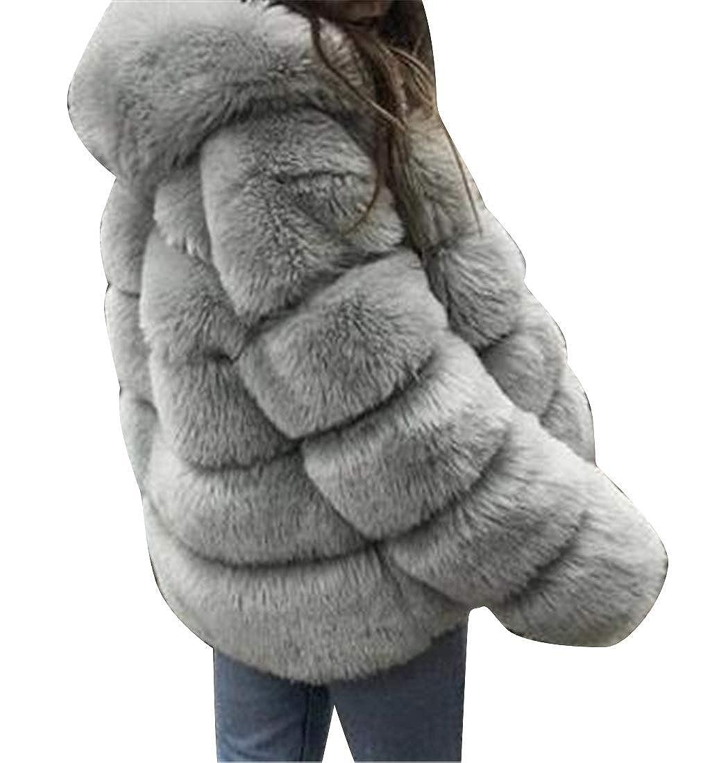 Light Grey YYG Womens Faux Fur Plus Size Fuzzy Long Sleeve Fall Winter Warm Cardigan Jacket Coat